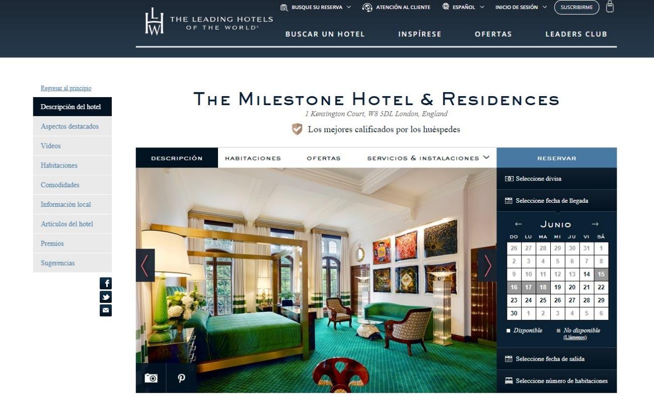 Captura de la página web del hotel The Milestone