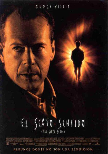 Bruce Willis y un niño caminando hacia la luz con forma de número 6
