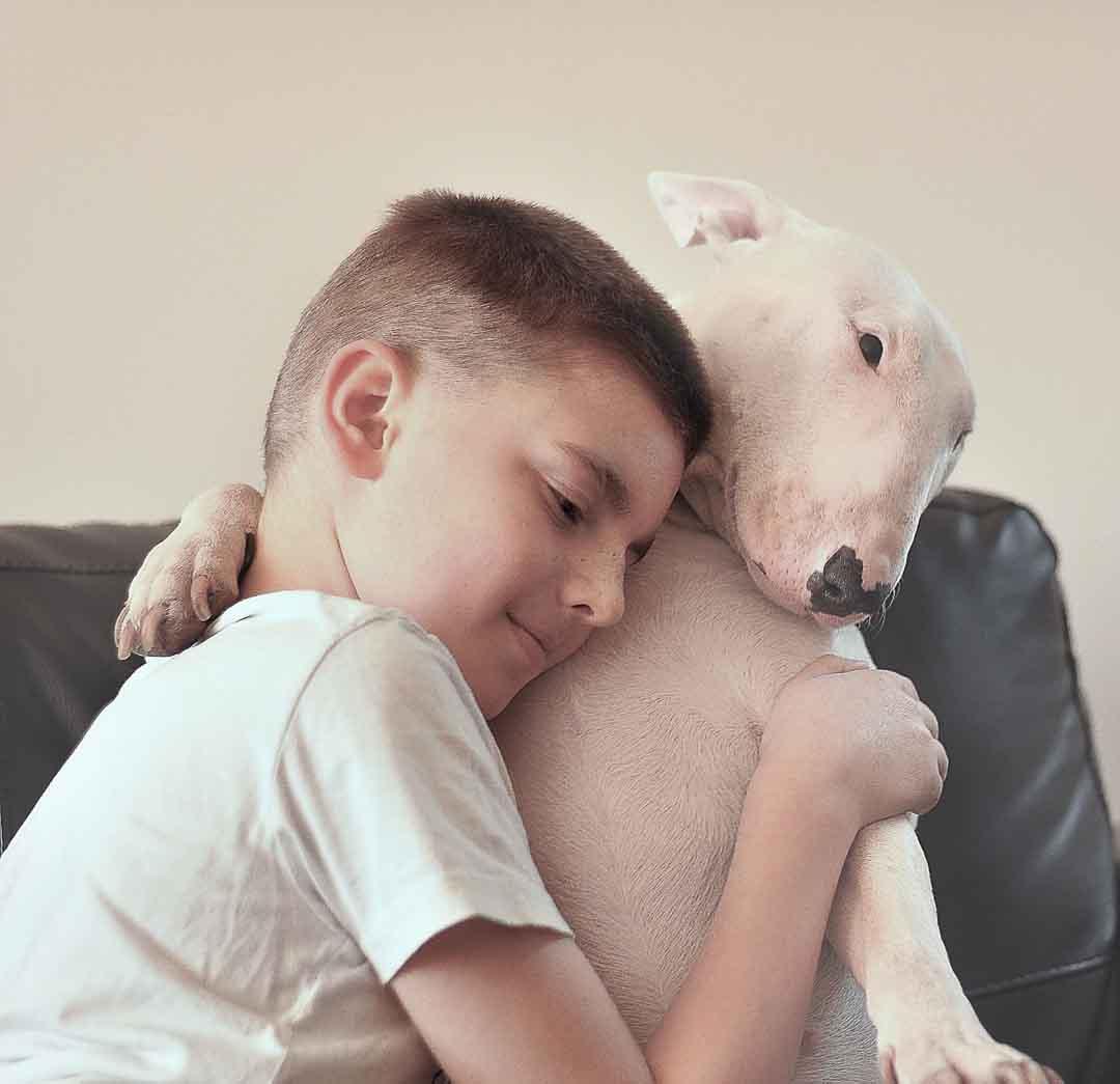 Niño acompañado de perro para combatir el TDH.