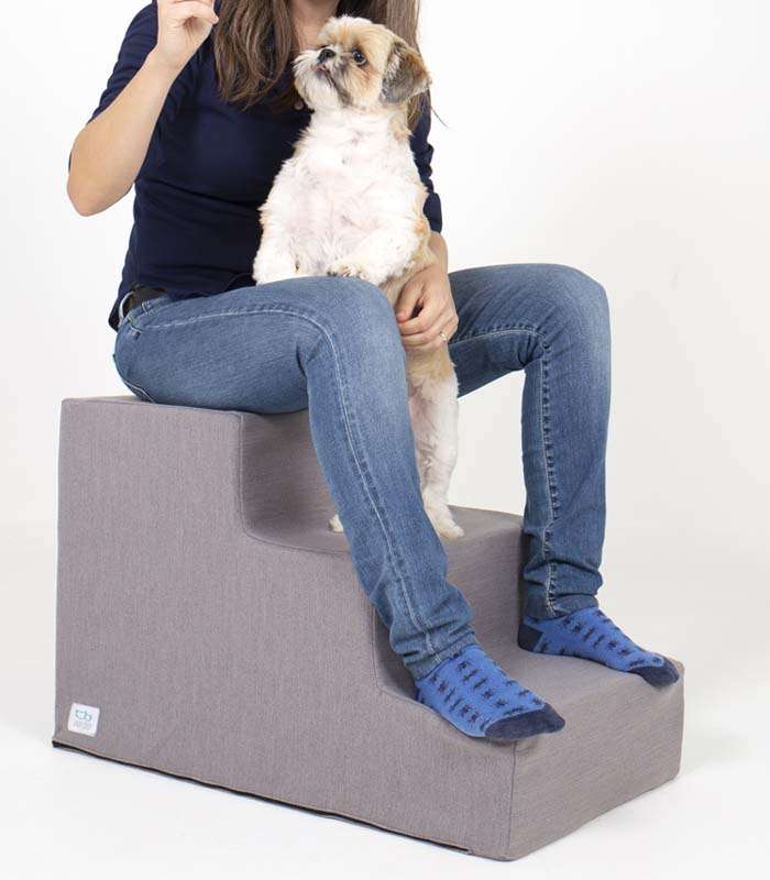 Humano y perro encima de escalera para mascotas de tres peldaños